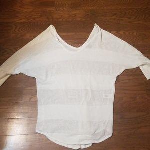 Express double v mesh net sweater